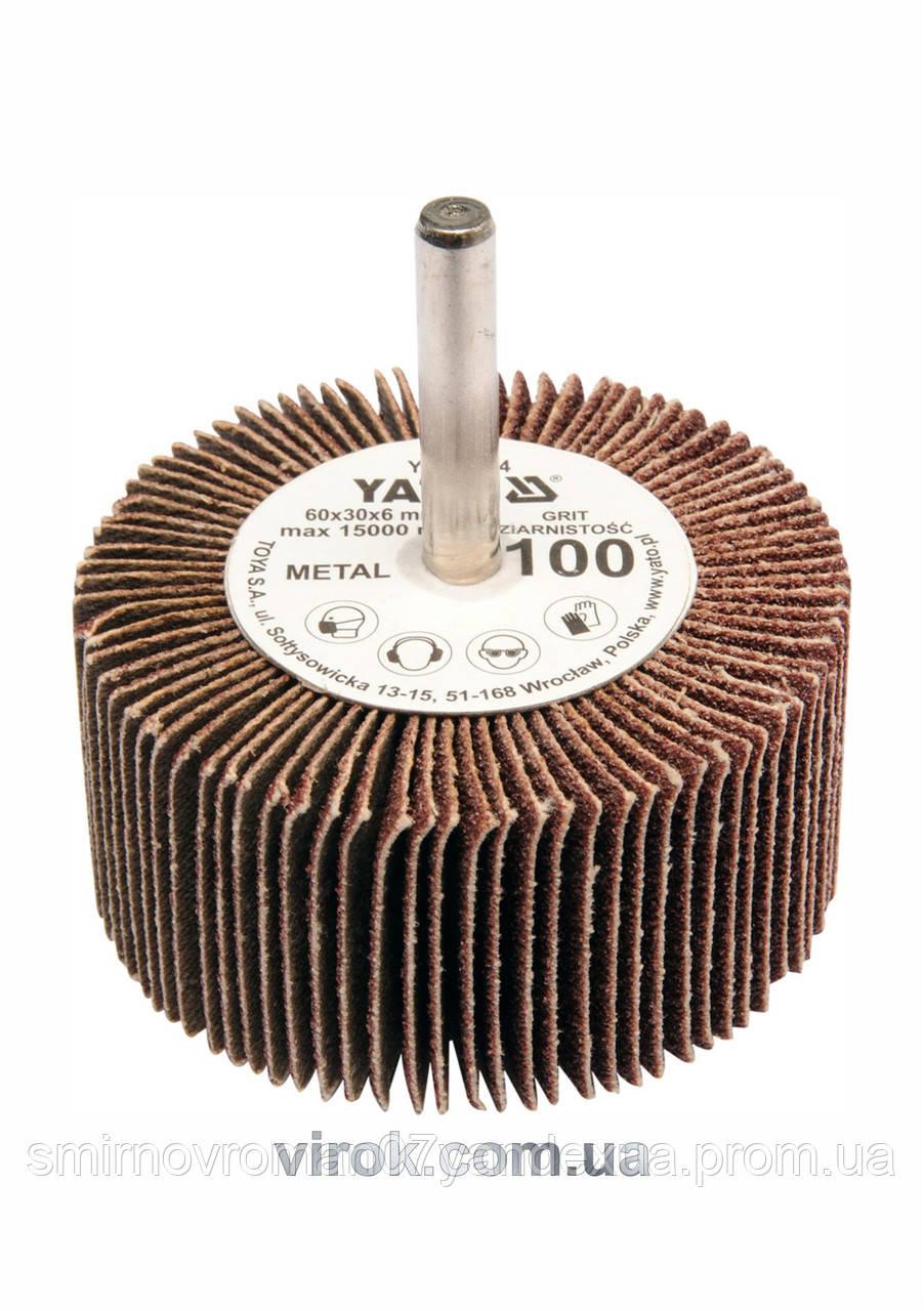Круг шлифовальный лепестковый для дрели YATO 60 х 30 х 6 мм К80