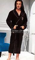 Nusa мужской халат с капюшоном (коричневого цвета) премиум класса NS-2975