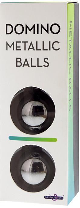 Шарики вагинальные DOMINO METALLIC BALLS - CHROME BLACK, 3 см