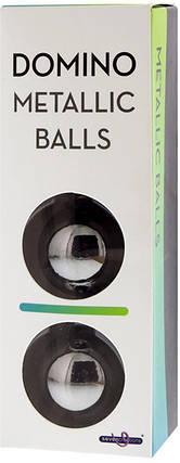 Шарики вагинальные DOMINO METALLIC BALLS - CHROME BLACK, 3 см , фото 2