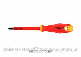 Викрутка діелектрична ізольована YATO до 1000V PH2x100мм [12/120]