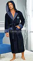 Nusa мужской халат с капюшоном (темно-синего цвета) премиум класса NS-1145