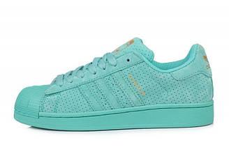 Оригинальные кроссовки женские Adidas Superstar Supercolor Suede Sea Blue Адидас суперстар суперколор голубые