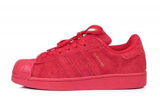 Оригинальные кроссовки женские Superstar Supercolor Suede Red Адидас суперстар суперколор красные