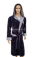 Nusa мужской халат с капюшоном (серого цвета) премиум класса NS-1145