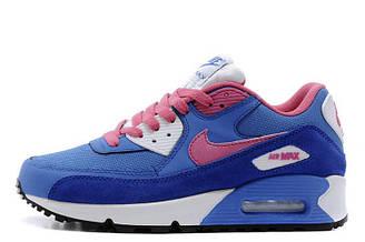 Оригинальные кроссовки женские Nike Air Max 90 Dark Blue Pink White найк аир макс 90