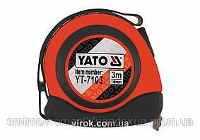 Рулетка с нейлоновым покрытием и магнитным крючком YATO 3 м х 16 мм