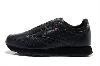Оригинальные кроссовки женские Reebok Classic Leather Black рибок классик черные