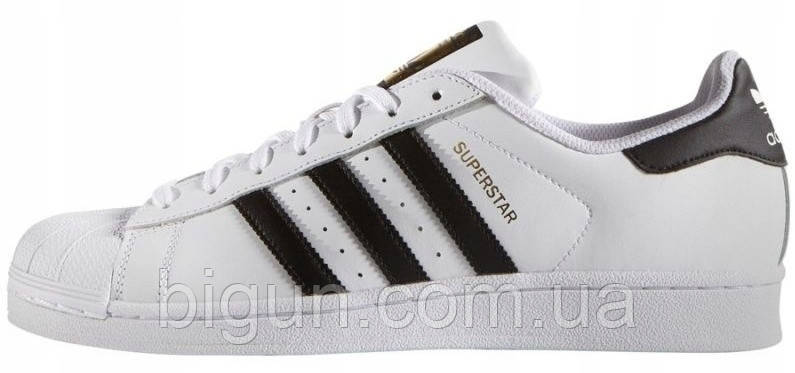 Женские кроссовки Adidas Superstar White Black Gold (адидас суперстар, белые/черные)