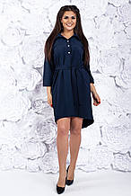 Платье рубашкас поясом, №102, тёмно-синее.