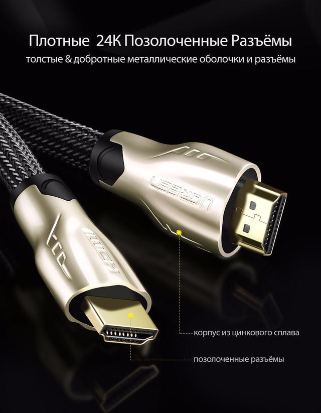 HDMI кабель Ugreen HD102 10152 11191 с поддержкой FullHD/4K/3D video resolution, многоканальный звук 5.1/7.1