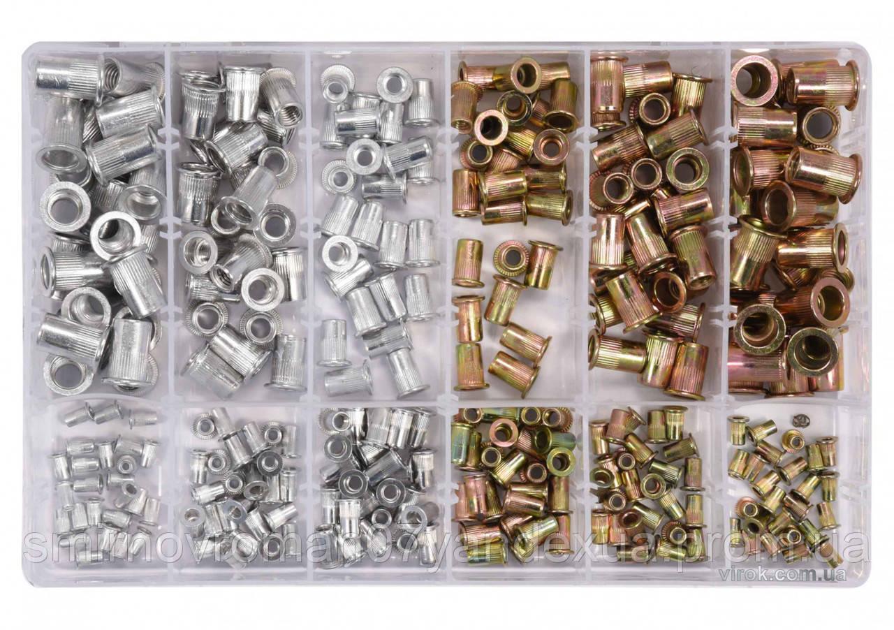 Нитогайки стальные и алюминиевые YATO М3-М10 мм 300 шт