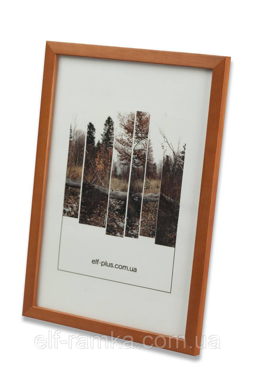 Рамка 20х20 из дерева - Сосна коричневая 1,5 см - со стеклом