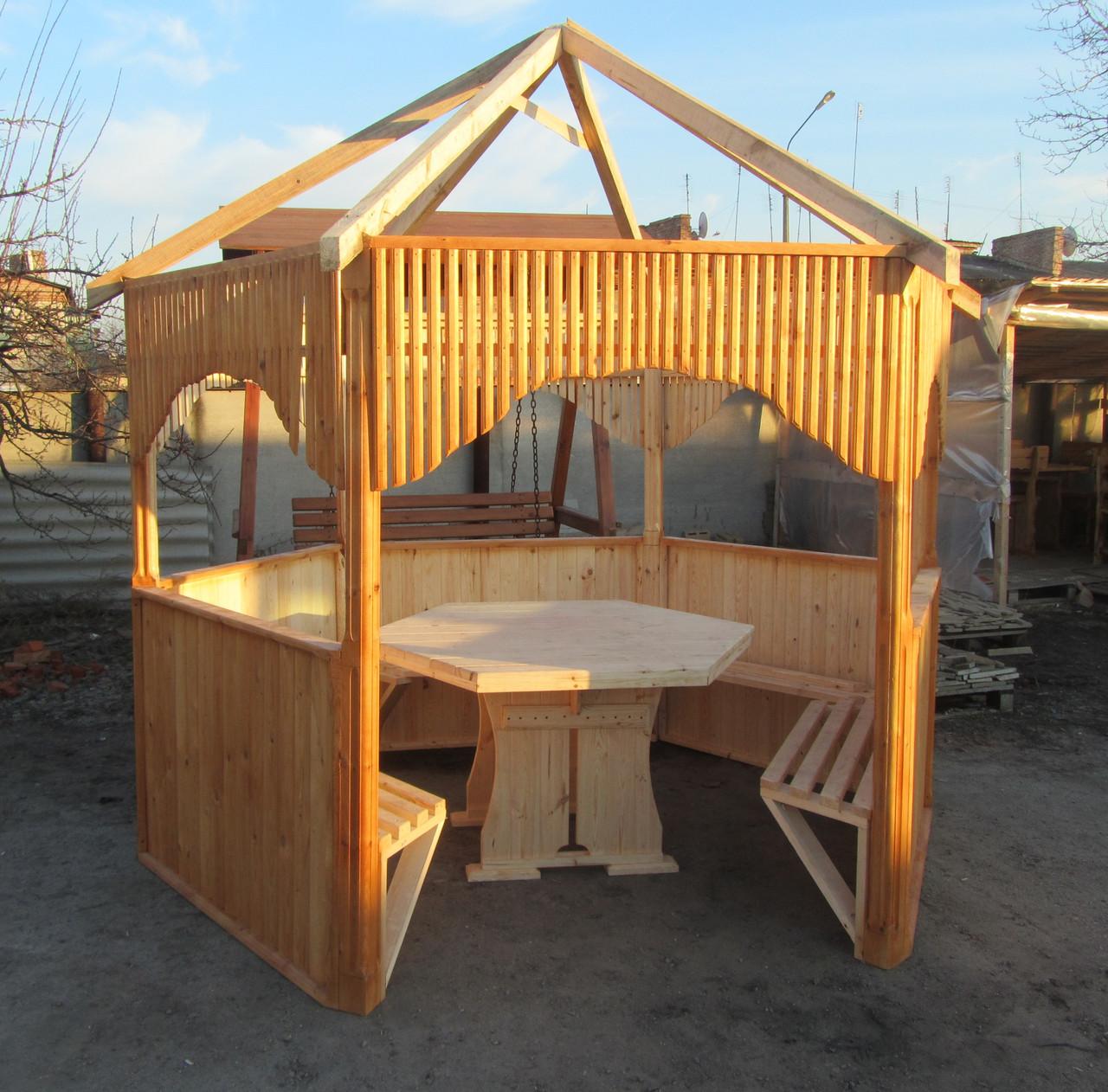 Беседка деревянная + стол для беседки