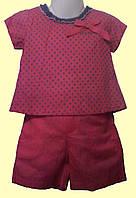 Блуза и шортики, для девочки, малиновые, р. 98 см (3-4 года)