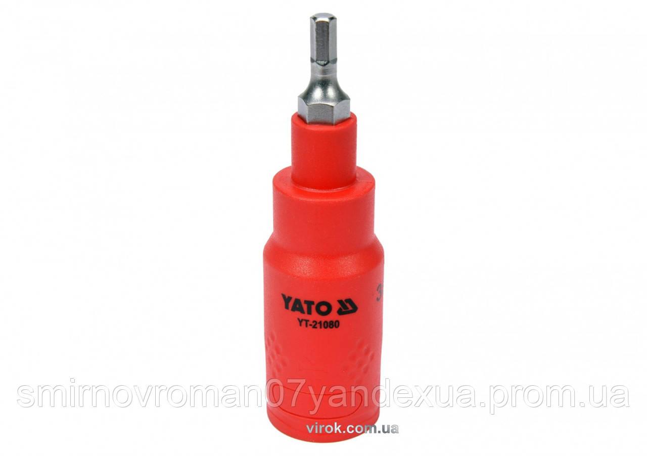 """Головка торцева діелектрична з викрутковим насадкою HEX YATO 3/8"""" H4 x 75 мм VDE до 1000 В"""