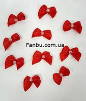 Мелкие бантики из атласной ленты,цвет красный 2см*2см(1 упаковка 10бантиков)