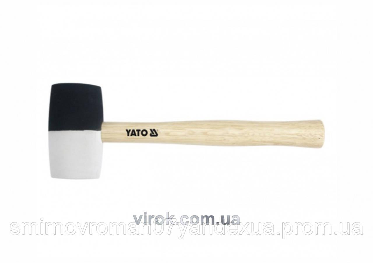 Молоток гумовий YATO 2-шаровий Ø= 50 мм з дерев. ручкою, m= 370 г, l= 300 мм [6/36]