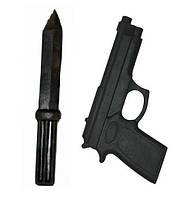 Комплект муляжей нож и пистолет (резина)