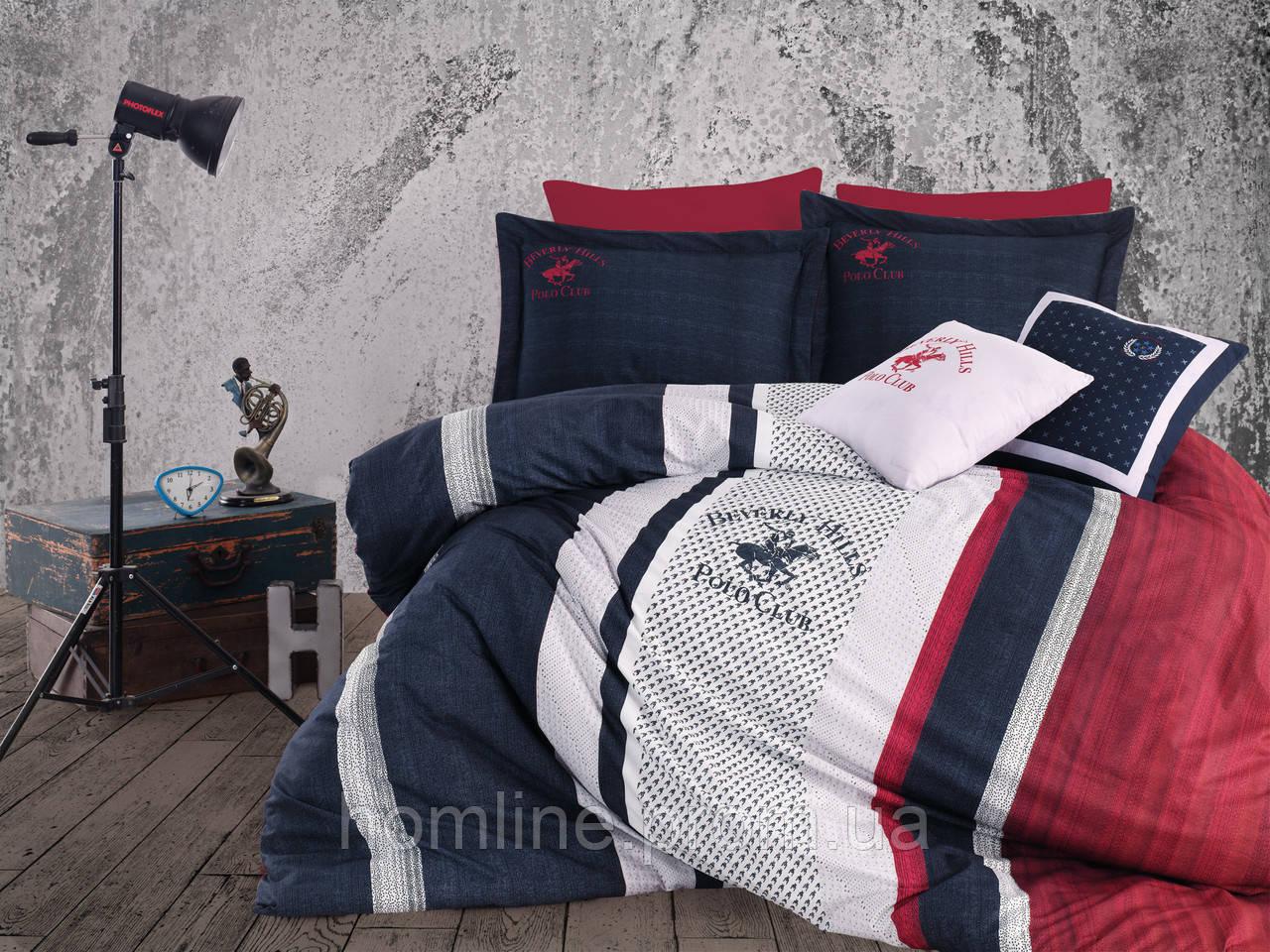 Постельное белье Beverly Hills Polo Club ранфорс Dark Blue евро BHPC 023