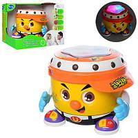 Барабан 6107 (6шт) 16см, муз, танцует,3Dсвет, рег.громк, на бат-ке, в кор-ке, 25-21-20,5см Н