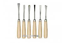 Набір стамесок фігурних VOREL з дерев'яною ручкою 6 предметів