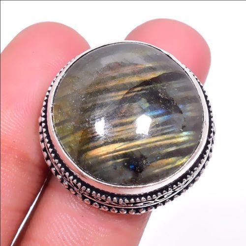 Кольцо лабрадор в серебре. Кольцо с круглым лабрадором размер 17,5-18 Индия