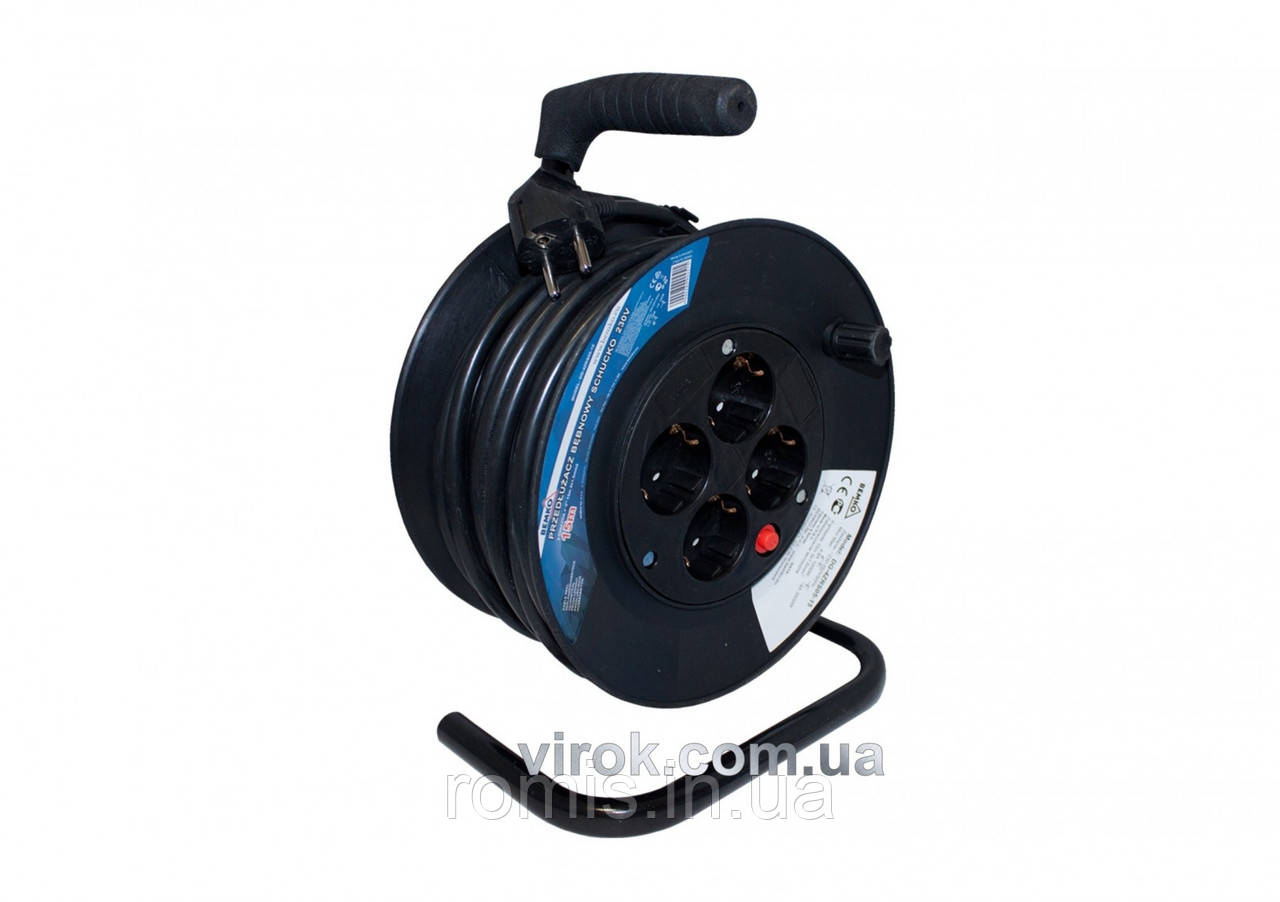 Подовжувач електр-й на котушці 15 м/3х1.5мм², 4 гнізд, SCHUCKO з заземл.