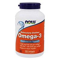 Омега-3 NOW Foods ОРИГИНАЛ! США 200 капсул Omega-3 Нау Фудс рыбий жир fish oil 180EPA/120DHA 200 капсул