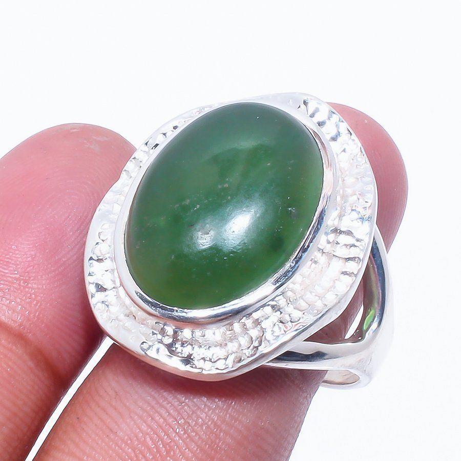 Нефрит кольцо с натуральным нефритом в серебре. Размер 19. Индия