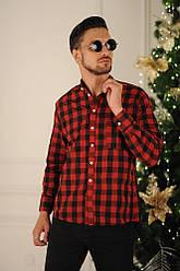 """Мужская стильная классическая рубашка в клеточку с подгибаемыми рукавами, серия """"Семья"""""""