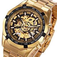 Стильные механические часы Winner Skeleton Золотистые, металл