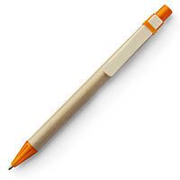 Экоручка картонная Open с деревянным клипом, оранжевые детали, от 100 шт
