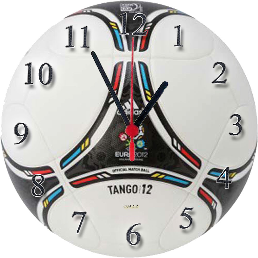 """Настінні годинники зі скла """"М'яч Tango 12"""" кварцові"""