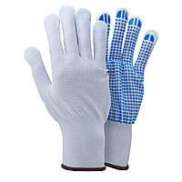 Перчатки трикотажные с точечным ПВХ покрытием р8 (белые, манжет)