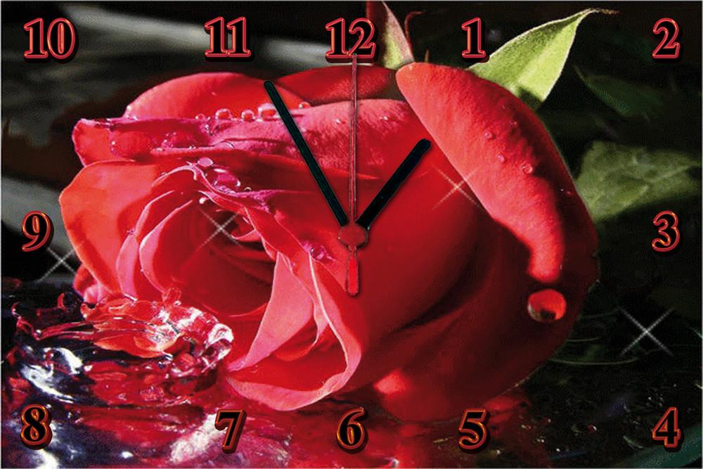 "Настенные часы секлянные  ""Роза"" кварцевые"