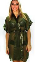 Халатик секси шифон, прозрачный халатик Sufle зеленого цвета, размеры 42 - 52. В розницу и оптом.