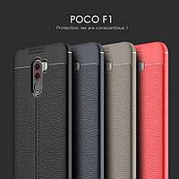 ТПУ накладка Autofocus с имитацией кожи для Xiaomi Pocophone F2 (Сяоми (Ксиаоми, Хиаоми) Покофон Ф2)