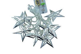 "Новогодняя гирлянда ""Звезды"" 8 LED, Белый теплый свет, на пальчиковых батарейках"