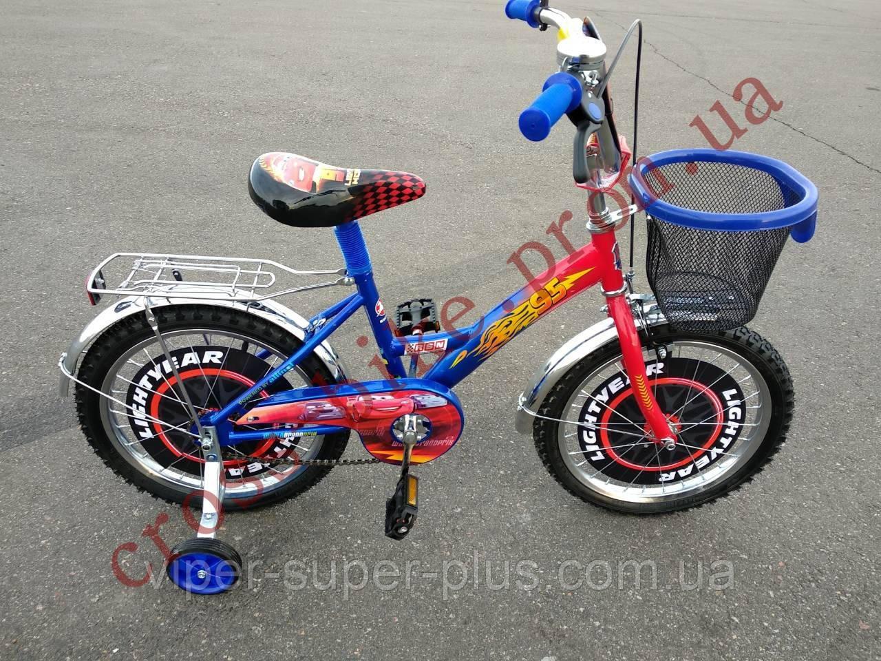 Дитячий двоколісний велосипед Azimut Тачки 16 дюймів для хлопчика