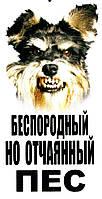Металлическая табличка осторожно злая собака, фото 1