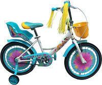 Детский двухколесный велосипед Azimut Герл Girls 12 дюймов, сидение для куклы, корзинка для игрушек