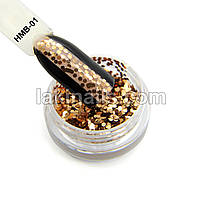 Шестигранники, конфетти для дизайна ногтей, бронзовые HMB-01