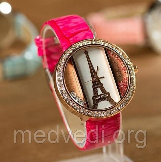 Малиновые женские часы с эйфелевой башней