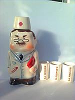 Подарочный набор Доктор цветной,штоф для водки 500 мл и стакан гранёный 3 шт фарфор