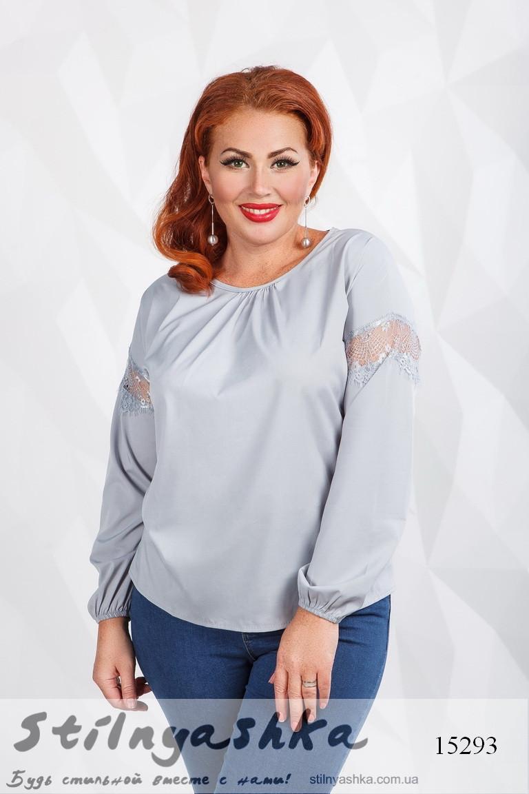 Стильная блузка для полных с кружевом серая, фото 1