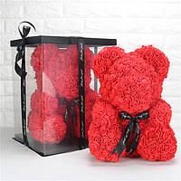 Мишка из роз 3D ручной работы 40 см в подарочной коробке Красный