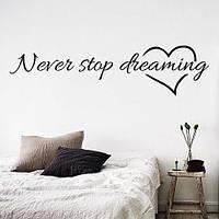 Текстовая виниловая наклейка Never stop (надписи на английском, мотивирующие наклейки, сердечки)