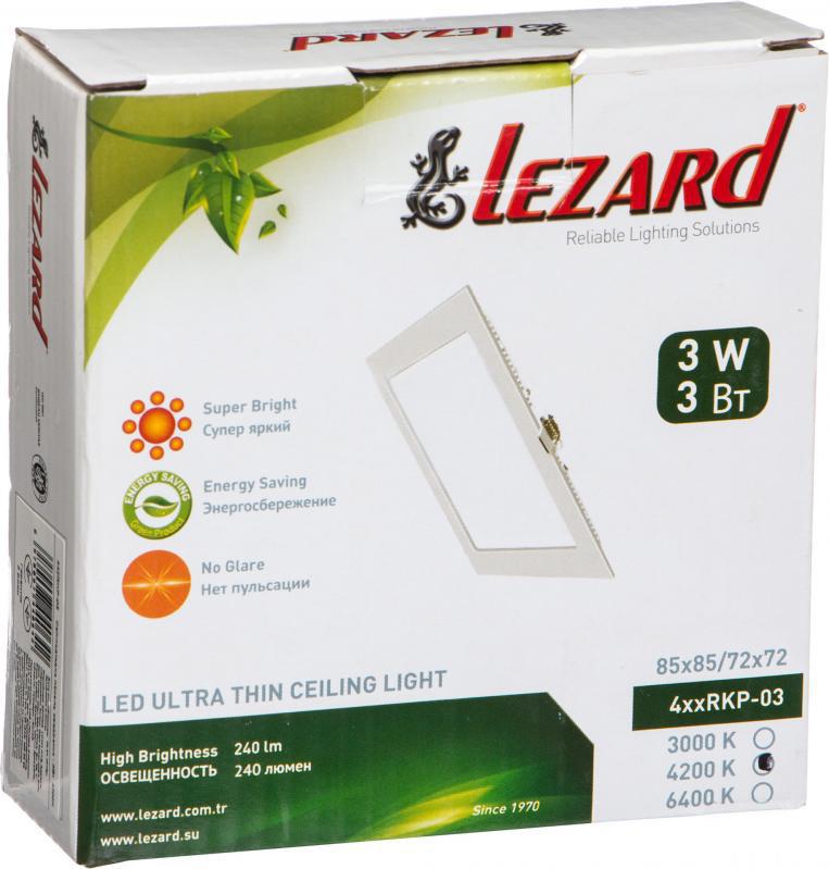 Светильник ЛЕД 3Вт врезной квадрат 4200К LED точечный Lezard
