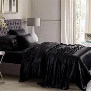 """Полуторное постельное белье сатин """"Черный"""""""